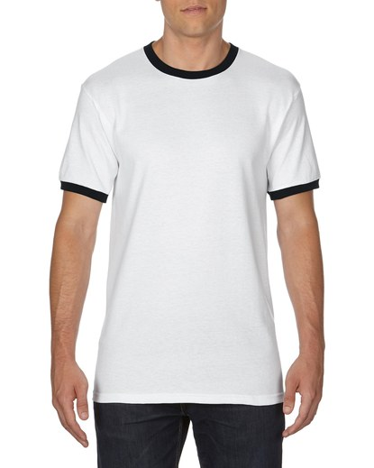 Gildan Adult Ringer T-Shirt White/Black Medium (0(8600) 1 | | Promotion Wear