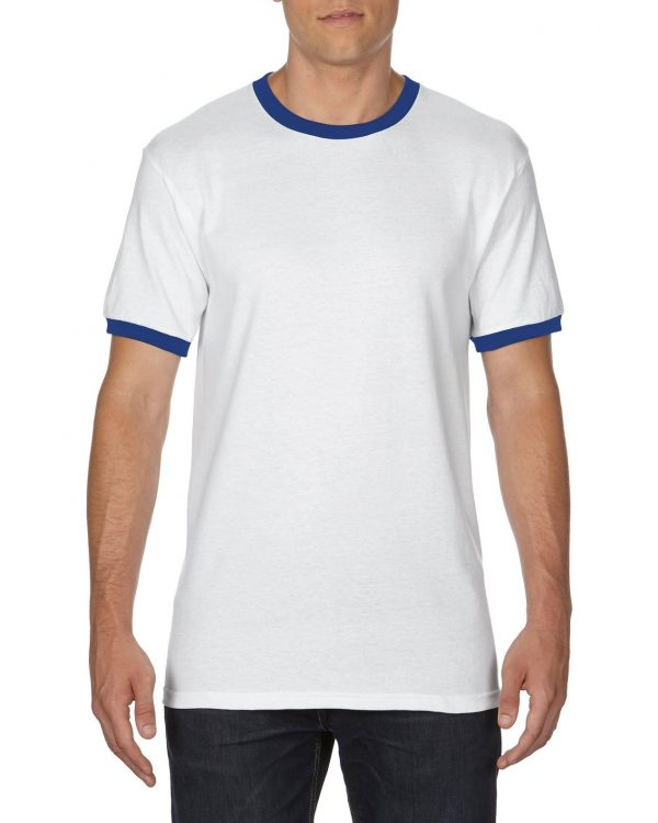 Gildan Adult Ringer T-Shirt White/Royal Large (0(8600) 1 | | Promotion Wear