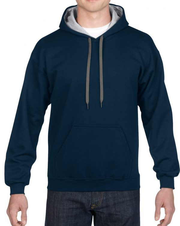 Gildan Heavy Blend Adult Contrast Hooded Sweatshirt Navy / Sport Grey Small (18(185C00) 1 | | Promotion Wear