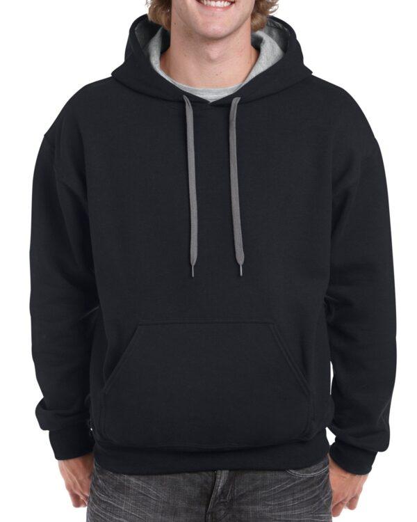 Gildan Heavy Blend Adult Contrast Hooded Sweatshirt Black / Sport Grey Xlarge (18(185C00) 1 | | Promotion Wear