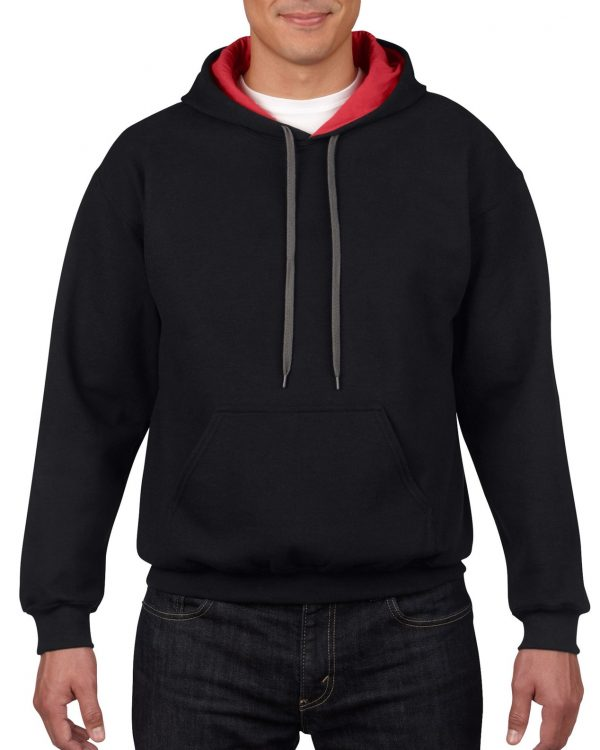 Gildan Heavy Blend Adult Contrast Hooded Sweatshirt Black / Red Xlarge (18(185C00) 1 | | Promotion Wear