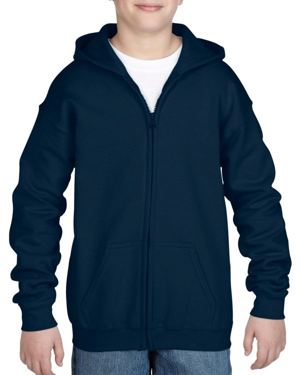 Gildan Heavy Blend Youth Full Zip Hooded Sweatshirt Navy Medium (18600B) 1 | | Promotion Wear