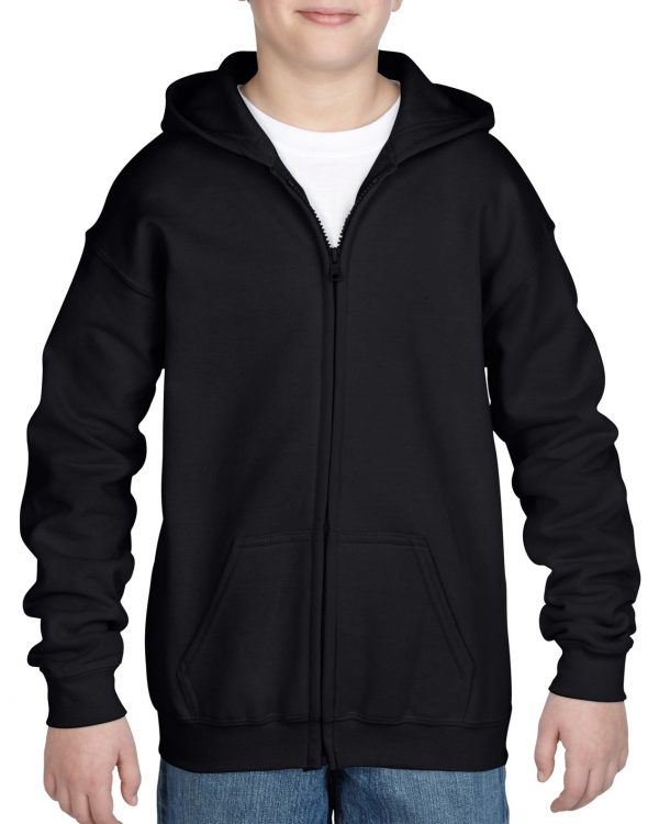 Gildan Heavy Blend Youth Full Zip Hooded Sweatshirt Black Large (18600B) 1 | | Promotion Wear