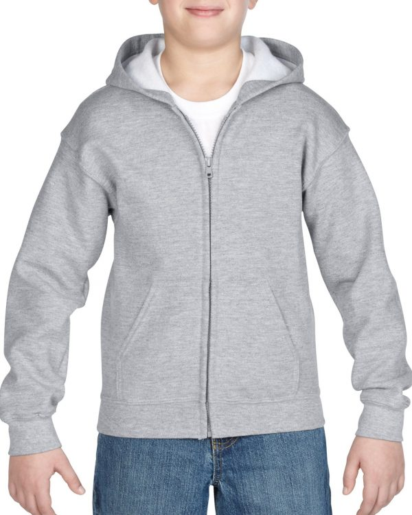 Gildan Heavy Blend Youth Full Zip Hooded Sweatshirt Sport Grey Xlarge (18600B) 1 | | Promotion Wear