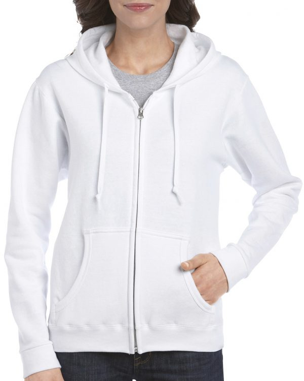 Gildan Heavy Blend Ladies' Full Zip Hooded Sweatshirt White Medium (18600FL) 1 | | Promotion Wear