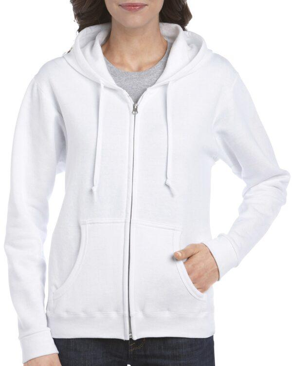 Gildan Heavy Blend Ladies' Full Zip Hooded Sweatshirt White Large (18600FL) 1 | | Promotion Wear
