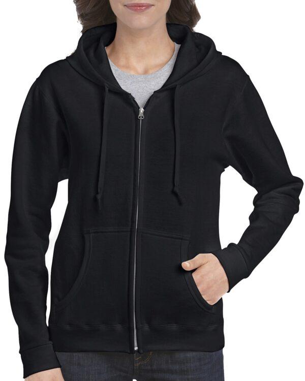 Gildan Heavy Blend Ladies' Full Zip Hooded Sweatshirt Black Large (18600FL) 1 | | Promotion Wear