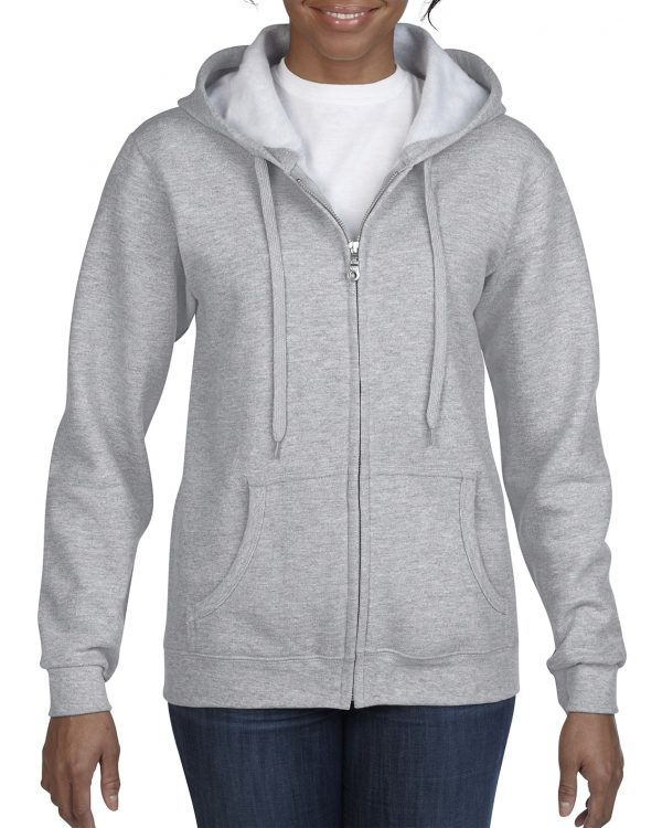 Gildan Heavy Blend Ladies' Full Zip Hooded Sweatshirt Sport Grey Small (18600FL) 1 | | Promotion Wear