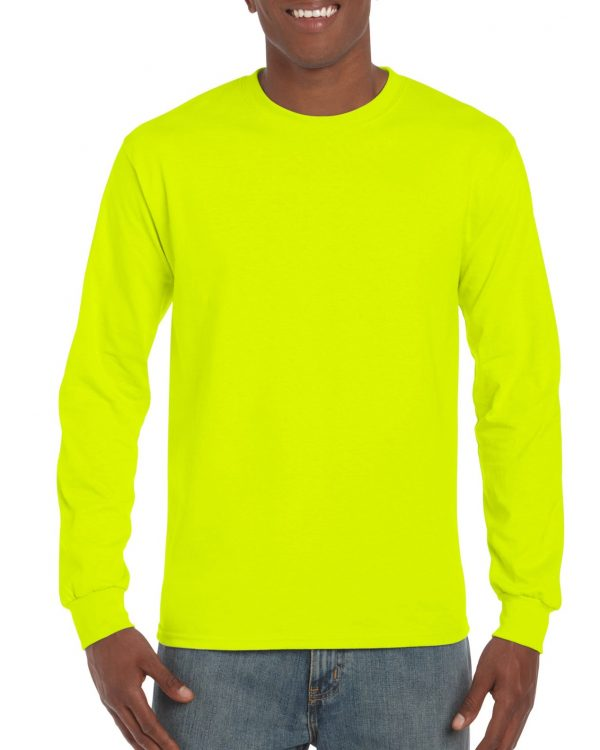 Gildan Ultra Cotton Adult Long Sleeve T-Shirt Safety Green Medium (2400) 1 | | Promotion Wear