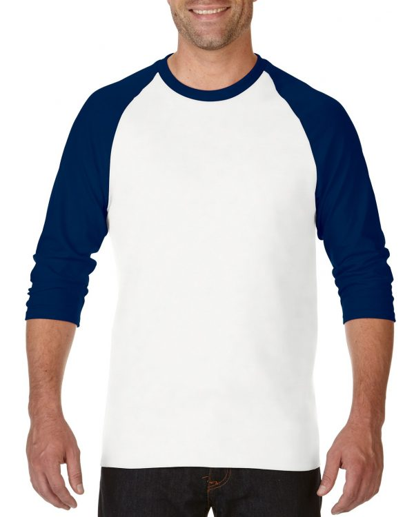 Gildan Heavy Cotton Adult 3/4 Raglan T-Shirt White / Navy Xlarge (0(5700) 1     Promotion Wear