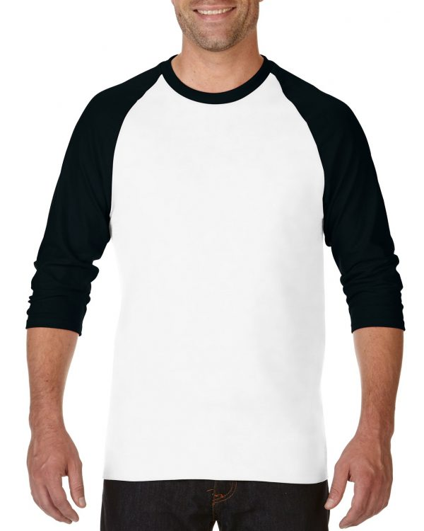 Gildan Heavy Cotton Adult 3/4 Raglan T-Shirt White / Black 2Xlarge (5700) 1     Promotion Wear
