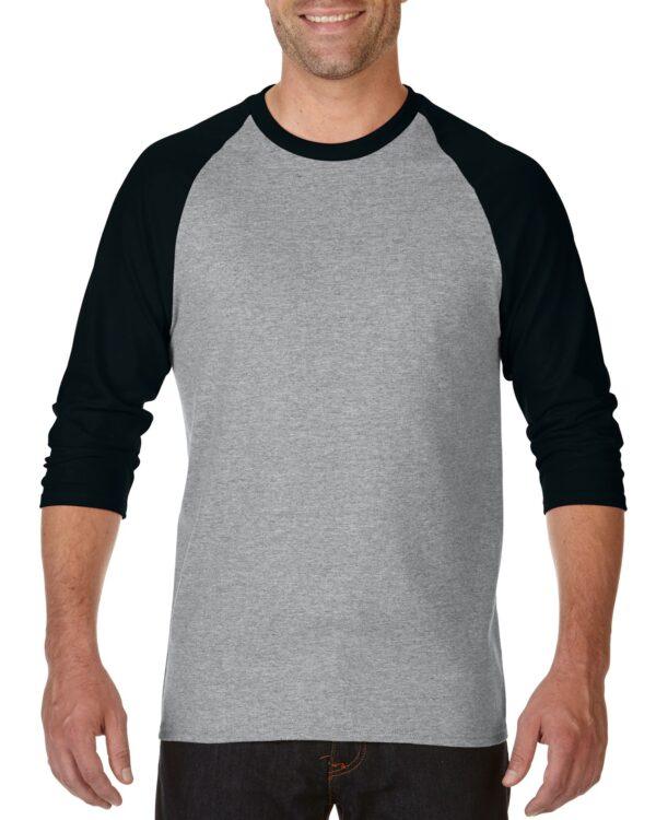 Gildan Heavy Cotton Adult 3/4 Raglan T-Shirt Sports Grey / Black Medium (5700) 1     Promotion Wear
