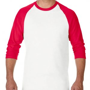 Gildan Heavy Cotton Adult 3/4 Raglan T-Shirt White / Red Large (5700) 3 | | Promotion Wear
