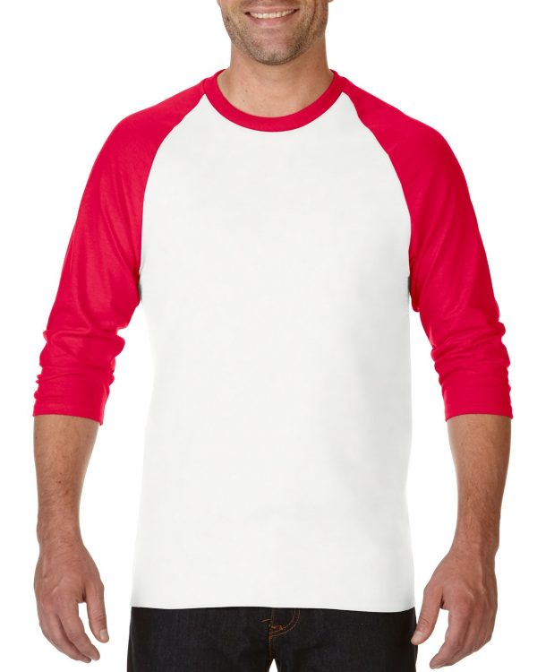 Gildan Heavy Cotton Adult 3/4 Raglan T-Shirt White / Red Large (5700) 1 | | Promotion Wear