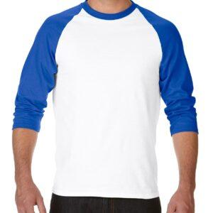 Gildan Heavy Cotton Adult 3/4 Raglan T-Shirt White / Royal 2Xlarge (5700) 3     Promotion Wear
