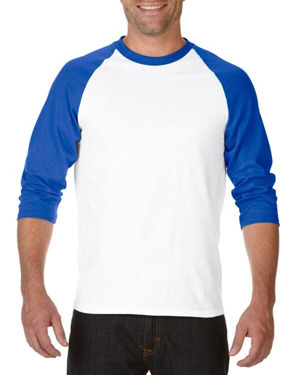 Gildan Heavy Cotton Adult 3/4 Raglan T-Shirt White / Royal Small (5700) 1 | | Promotion Wear