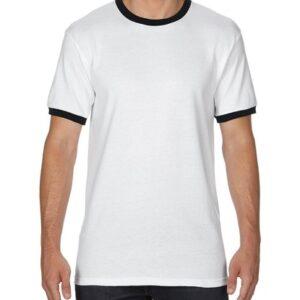 Gildan Adult Ringer T-Shirt White/Black 2Xlarge (0(8600) 6     Promotion Wear