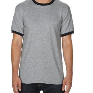 Gildan Adult Ringer T-Shirt Sports Grey/Black 2Xlarge (0(8600) 1     Promotion Wear