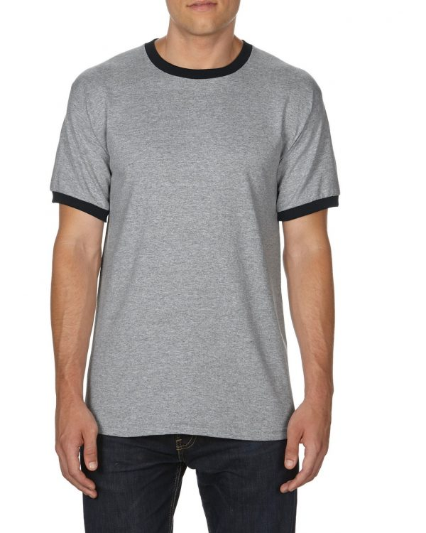 Gildan Adult Ringer T-Shirt Sports Grey/Black Medium (0(8600) 1 | | Promotion Wear