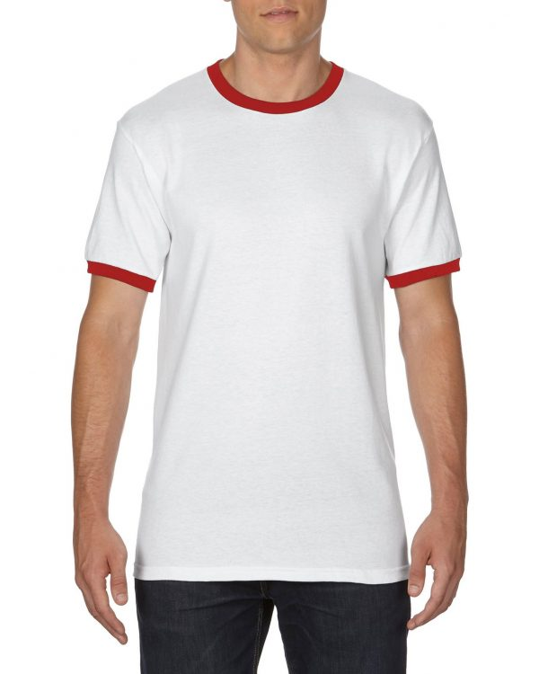 Gildan Adult Ringer T-Shirt White/Red Large (0(8600) 1 | | Promotion Wear