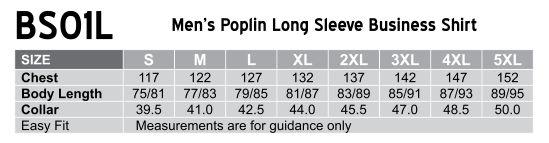 BS01L Men's Poplin Long Sleeve Business Shirt