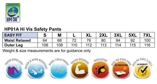 HP01A HI-VIS SAFETY PANTS