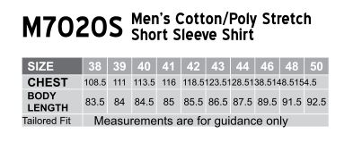 M7020S Men's Cotton/Poly Stretch Short Sleeve Shirt