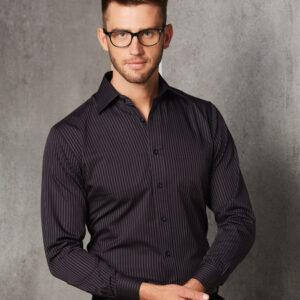 M7132 Men's Dobby Stripe long sleeve shirt 1     Promotion Wear