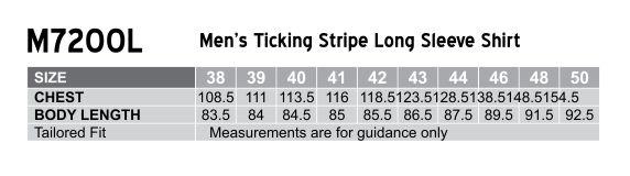 M7200L Men's Ticking Stripe Long Sleeve Shirt