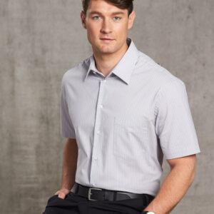 M7200S Men's Ticking Stripe Short Sleeve Shirt