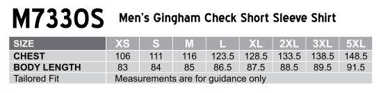M7330S Men's Gingham Check Short Sleeve Shirt