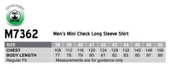 M7362 Men's Mini Check Premium cotton long sleeve shirt