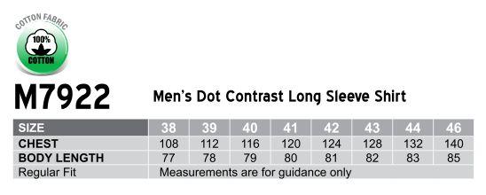 M7922 Men's Dot Contrast Long Sleeve Shirt