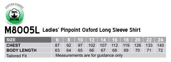 M8005L, Women's Pinpoint Oxford Long Sleeve Shirt