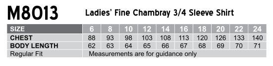 M8013 Women's Fine Chambray 3/4 Sleeve Shirt