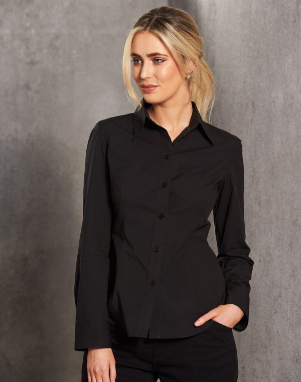 M8020L Women's Cotton/Poly Stretch Long Sleeve Shirt
