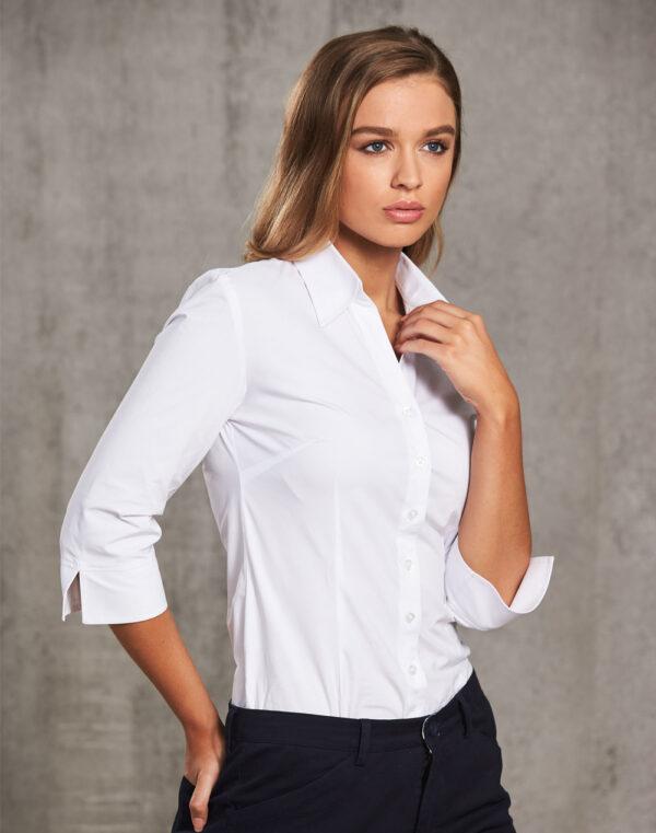 M8020Q Women's Cotton/Poly Stretch 3/4 Sleeve Shirt 1     Promotion Wear