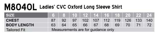M8040L Women's CVC Oxford Long Sleeve Shirt