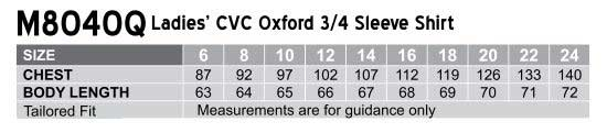 M8040Q Women's CVC Oxford 3/4 Sleeve Shirt