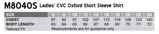 M8040S Women's CVC Oxford Short Sleeve Shirt