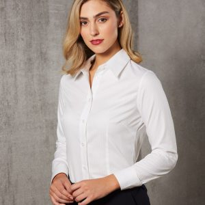 M8100L Women's Self Stripe Long Sleeve Shirt
