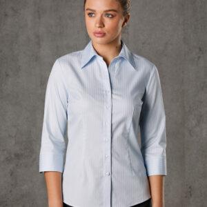 M8100Q Women's Self Stripe 3/4 Sleeve Shirt 1 | | Promotion Wear