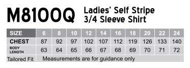 M8100Q Women's Self Stripe 3/4 Sleeve Shirt