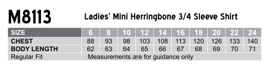 M8113 Women's Mini Herringbone 3/4 Sleeve Shirt