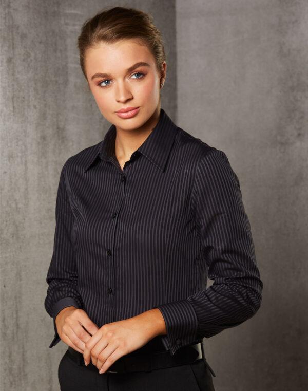 M8132 Women's Dobby Stripe long sleeve shirt