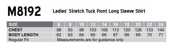 M8192 Women's Stretch Tuck Front Long Sleeve Shirt