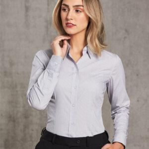 M8200L Women's Ticking Stripe Long Sleeve Shirt 1     Promotion Wear