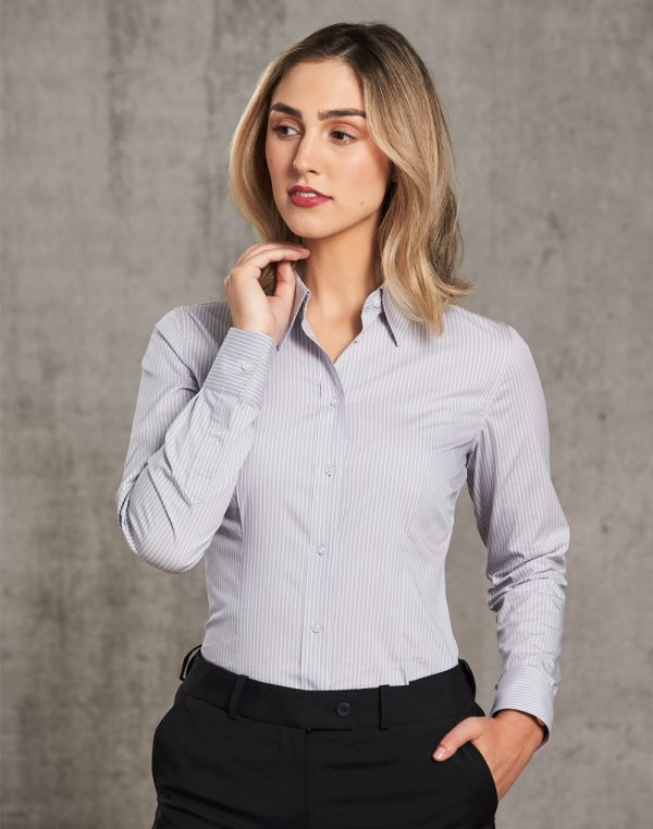 M8200L Women's Ticking Stripe Long Sleeve Shirt 1 | | Promotion Wear