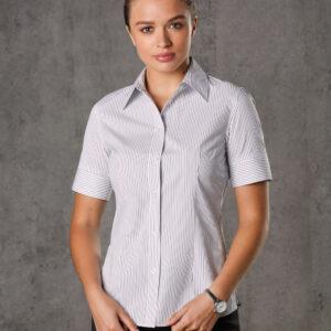 M8200S Women's Ticking Stripe Short Sleeve Shirt
