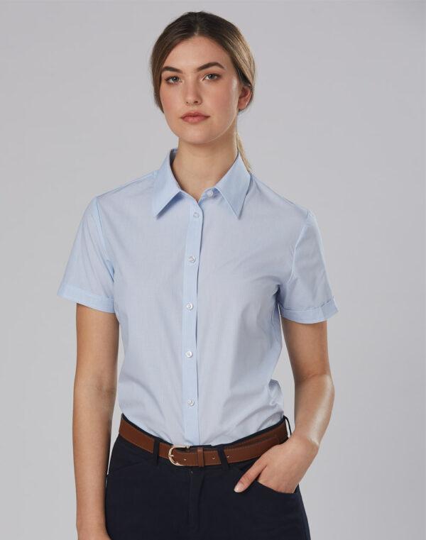 M8211 Women's Fine Stripe Short Sleeve Shirt 1     Promotion Wear
